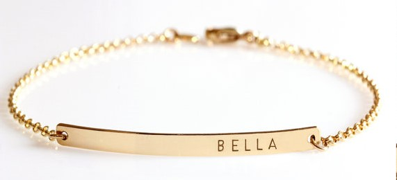 Customizable Gold Bar Bracelet, $25, etsy.com